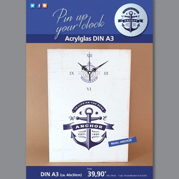 A3 Uhr auf Acrylglas mit Anchor-Motiv blau