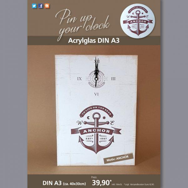 A3 Uhr auf Acrylglas mit Anchor-Motiv braun