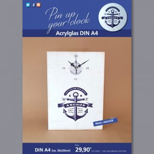 A4 Uhr auf Acrylglas mit Anchor-Motiv blau