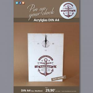 A4 Uhr auf Acrylglas mit Anchor-Motiv braun