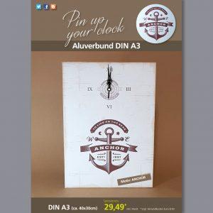 A3 Uhr auf Aluverbund mit Anchor-Motiv braun
