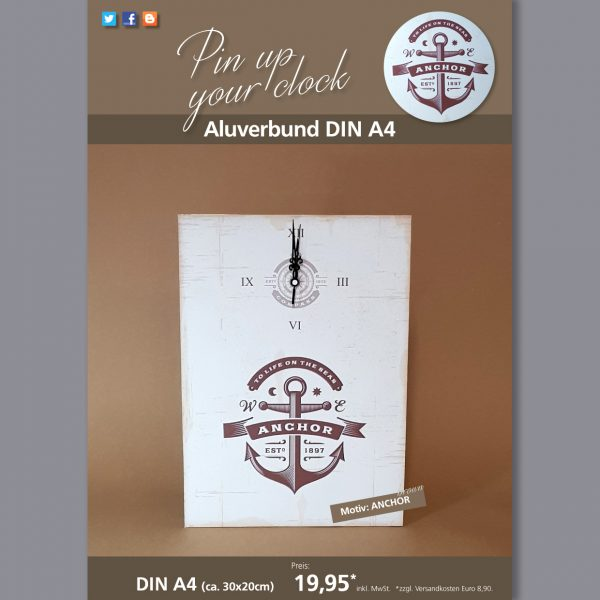 A4 Uhr auf Aluverbund mit Anchor-Motiv braun