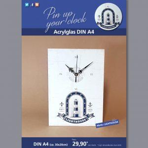 A4 Uhr auf Acrylglas mit Lighthouse-Motiv blau