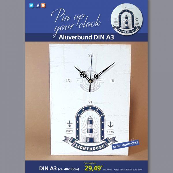 A3 Uhr auf Aluverbund mit Lighthouse-Motiv blau