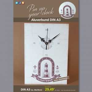 A3 Uhr auf Aluverbund mit Lighthouse-Motiv braun