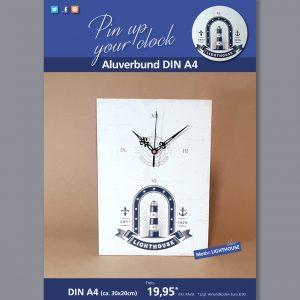 A4 Uhr auf Aluverbund mit Lighthouse-Motiv blau