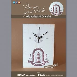 A4 Uhr auf Aluverbund mit Lighthouse-Motiv braun