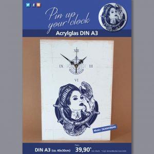 A3 Uhr auf Acrylglas mit Seawoman-Motiv blau