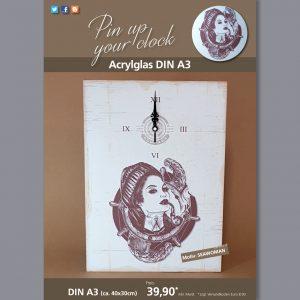 A3 Uhr auf Acrylglas mit Seawoman-Motiv braun