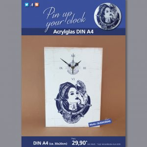 A4 Uhr auf Acrylglas mit Seawoman-Motiv blau