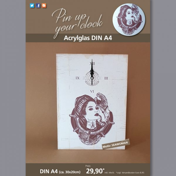 A4 Uhr auf Acrylglas mit Seawoman-Motiv braun