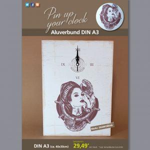 A3 Uhr auf Aluverbundplatte mit Seawoman-Motiv braun